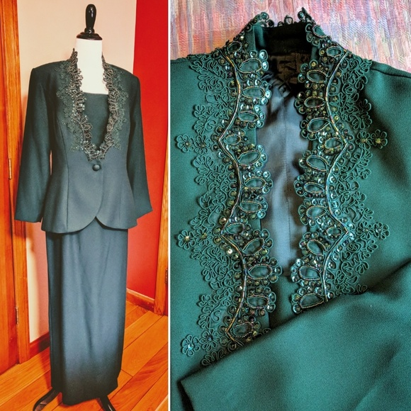 Vintage Dresses Hunter Green Evening Gown With Jacket Poshmark